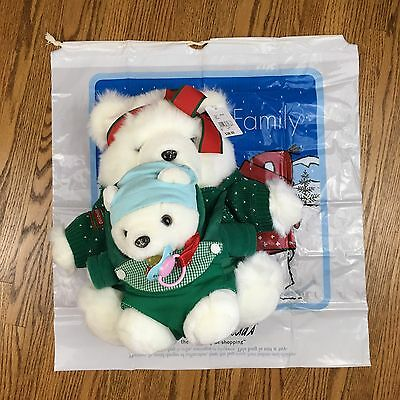 "Mrs Santa Bear 16"" Plush 2002 Mother Child Baby Papoose Harness Marshall Fields"