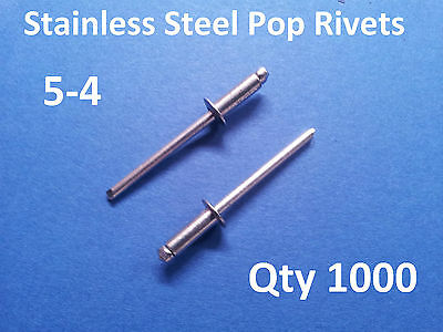 """1000 POP RIVETS STAINLESS STEEL BLIND DOME 5-4 4mm x 10.2mm 5/32"""""""