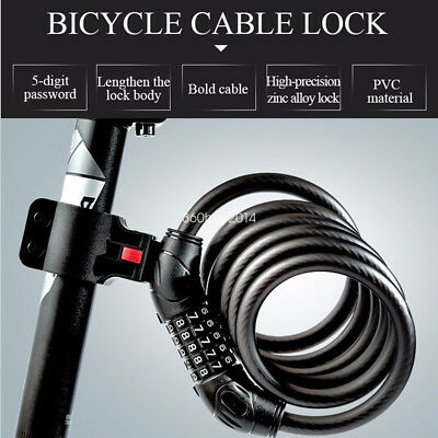 1.2M Bicycle Lock 5 Digital Password Lock Coiled Cable Security Bike Accesoory