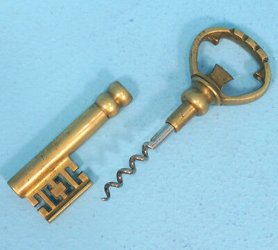Antique German Art Deco Brass Corkscrew Bottle Opener Key-Shape c1920s Gift Idea