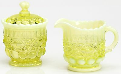 Creamer & Sugar Set - Eyewinker - Vaseline Opalescent Glass - Mosser USA