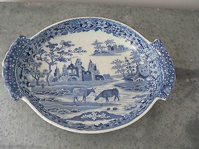 Blue and white transfer printed pearlware dish possibly Davenport early 19C.