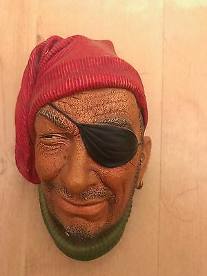 Vintage Bossons Smuggler Chalkware Head Wall Hanging Made in England