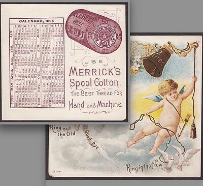 1895 Merricks Sewing Thread Calendar Cherub Cupid old Victorian Advertising Card
