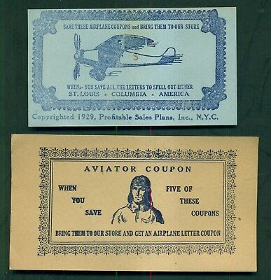 "1929 Lindbergh/Spirit of St. Louis ""Samples' Cut Rate"" Oxford,PA Contest Coupons"