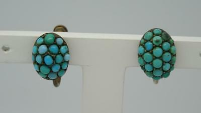 ***antique Silver Turquoise Cluster Screw Back Earrings C1900***