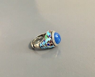 Alter Silber-Ring--mit Emaille--925---Gr.56---(N86)