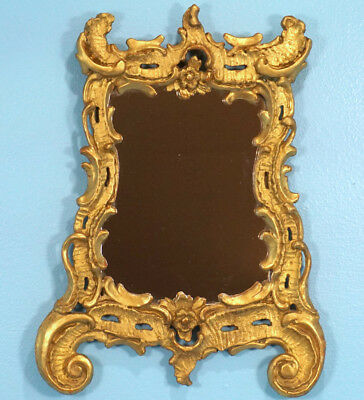 Antique Baroque Wood-Carved-Frame Wall Hanging Mirror Gilded c1750