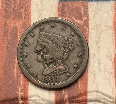 1851 Braided Hair Half Cent US Copper Coin AX55 Very Rare Key Date Counter Stamp