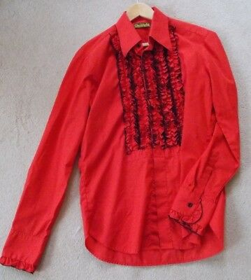 New Rockabilly Red with Frills Shirt by Chenaski Legendary Shirts-Large