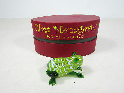 Glass Menagerie 2003 by Fitz & Floyd Green Frog Figurine IOB