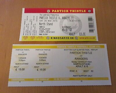 2 x PARTICK THISTLE v RANGERS TICKETS - 2007/08 + 2016/17