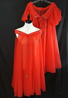 60s Radcliffe Peignoir Set Sheer Double Layer Short Gown Size Large Red Lingerie