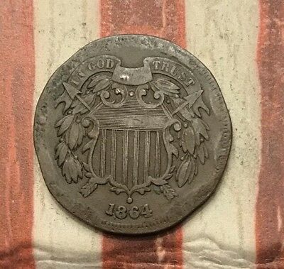 1864 2C Two Cent Piece Vintage US Copper Coin #AX58 Unique Appeal