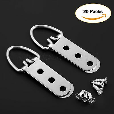 20Pcs 64mm*23mm Heavy Duty D-Ring Picture Hangers Frame Hanging 3 Hole+60 Screws