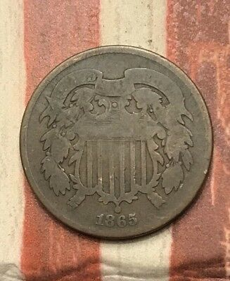 1865 2C Two Cent Piece Vintage US Copper Coin #AX60 Nice Appeal