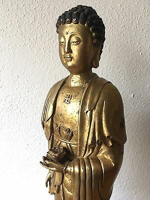 "Antique Solid Brass/Bronze Chinese Buddha Statue - 15"" Tall Standing Lotus Altar"