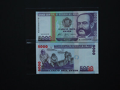 Peru Brilliant 5000 Intis Issue With Good Images     * Mint Unc *    Date  1988