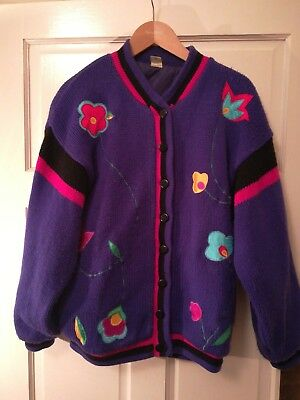 Fab fun vintage embroidered knitted kitsch cardigan jumper 10 12 14 80s purple