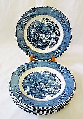 """CURRIER AND IVES by ROYAL  - (6) 10"""" DINNER PLATES-- EARLY WINTER"""