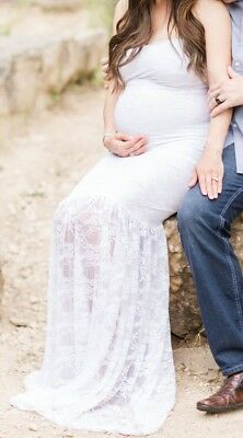 Sew trendy accessories white maternity gown- Small