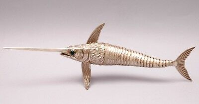 SUPERB SOLID SILVER ARTICULATED SWORDFISH. LENGHT 28 cm / 11 inch