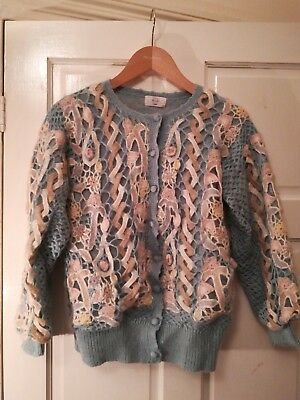 Fab fun vintage mohair knitted kitsch cardigan jumper 10 12 14 80s pastel blue