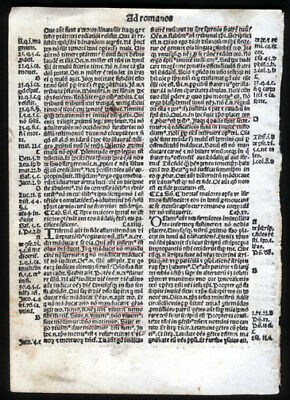 Epistle of St Paul to Romans Chapters 12-15 New Testament 1519 Bible Leaf