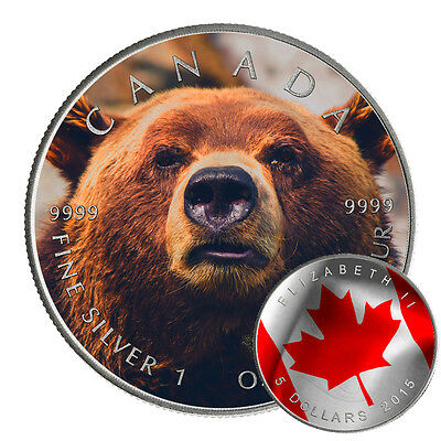 GRIZZLY BEAR - CANADIAN WILDLIFE SERIES - 2016 1 oz  Silver Coin -Antique Finish