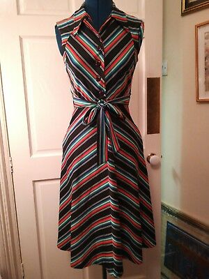 Stripy Mussoni ish summer dress 60s cute button front sailor dress 8 10 vintage