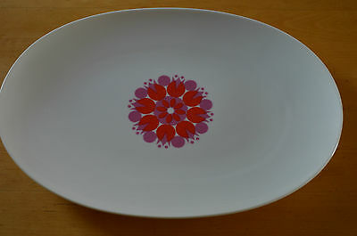 """Thomas Germany Pinwheel  Red And Pink 13"""" Oval Platter"""