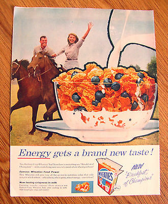 1958 Wheaties Cereal Ad  Couple Horseback Riding