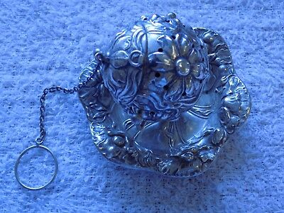 """Whiting Sterling Tea Ball Infuser With Holding Dish Repousse (Tea Ball 1 1/2"""" Di"""