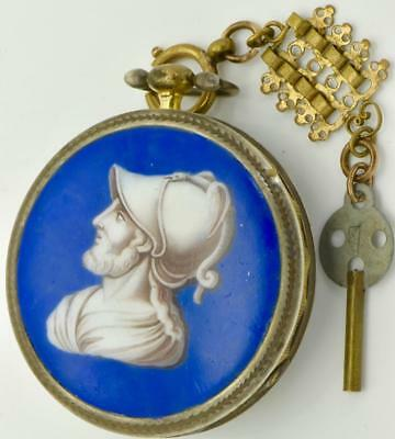 ONE OF A KIND  Verge Fusee silver&enamel pocket watch c1790's by Piere Duval