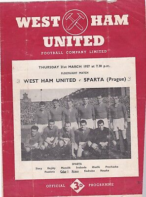 WEST HAM v SPARTA PRAGUE 1956/7,FRIENDLY