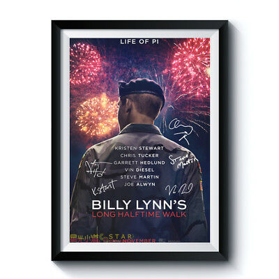 Autograph Poster Reprint BILLY LYNN'S LONG HALFTIME WALK Casts Home Art Deco