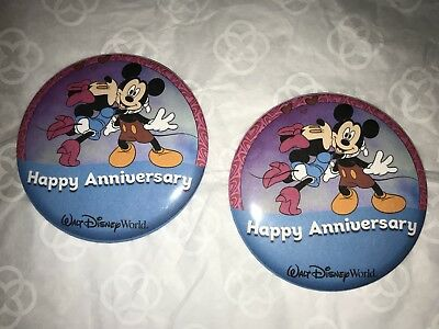 "Walt Disney World  Set Of Two ""HAPPY ANNIVERSARY"" Pins Buttons,"