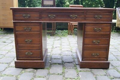 Edwardian Walnut Pedestal Desk Arts And Crafts  Look