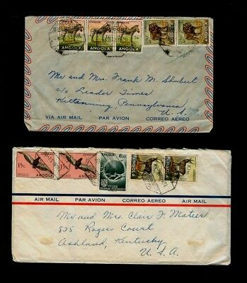 TWO 1953/54 Angola non-philatelic covers to US - Lion, Zebra Wildlife topical