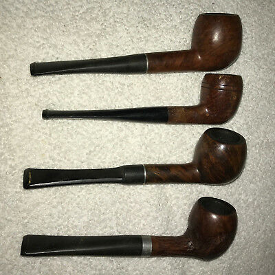 Vintage Lot of 4 Wood/Plastic Collectible Tobacco Smoking Pipes