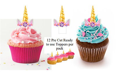 12 Pre Cut Ready to Use Unicorn Horn & Ears Edible Wafer Cupcake  Toppers