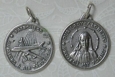 Our Lady Of Loreto, Protect My Flight, Medal Pendant, Silver Tone, 25mm Diameter