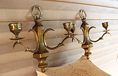Pair 2 Double Arm Bronze Wall Sconces Candle Holders Brass Vintage Antique