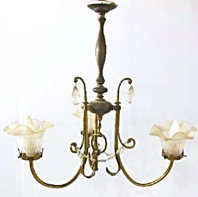 Antique Bronze Chandelier 3 Frosted Shades Lamp Lighting Ceiling Fixture Vintage