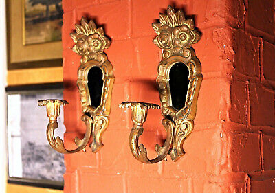 Pair 2 Brass Bronze Wall Sconces Candle Holders Vintage Antique Home Decor Lamp