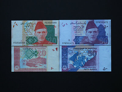 Pakistan Modern Colourful Set Of Two     20,50     Rupees Set    * Mint Unc *
