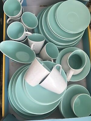 Poole Pottery Dinner Tea Set 63 Pieces Twin Tone Ice Green
