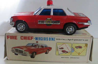 Mercedes Benz Fire Chief Car - Vintage 70's Battery Tinplate - Not Working