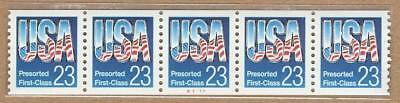2608 - 23c USA - Pre-sort 1st Class - PNC - Plate Number Coil - Strip of 5