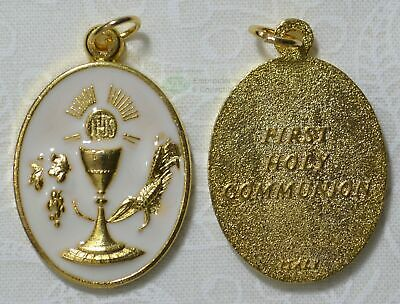 Communion Medal With Bar, Gold Tone, White Enamelled, 21mm x 28mm Oval, Made In